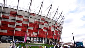 National Stadium, Warsaw - The crown of National Stadium with red and white façade resembling Polish national colors