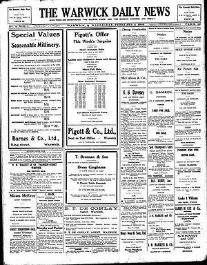 Warwick Daily News - Front page of the Warwick Daily News, 5 February 1919.