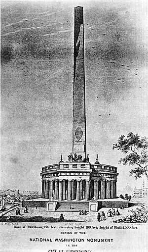 Washington Monument - Sketch of the proposed Washington Monument by architect Robert Mills (circa 1836)