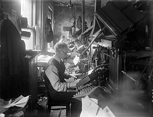 The Waterford News & Star - Typesetters working on linotype machines at the Waterford News, July 29, 1938