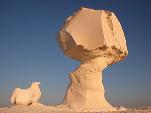 Ventifact - Impressively carved mushrooms are the centerpiece of White Desert national park, Egypt