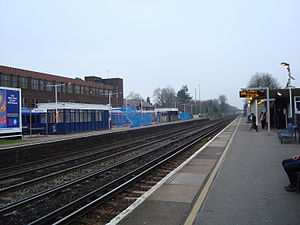 West Byfleet - The three platforms of West Byfleet railway station