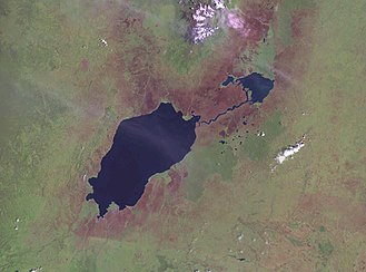 Kazinga Channel - Lake Edward (larger) and Lake George (smaller) connected by the Kazinga Channel