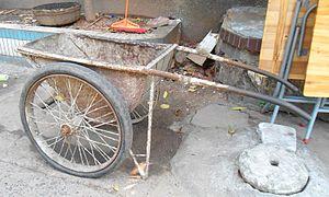 Wheelbarrow - A metal wheel barrow in Haikou City, Hainan Province, China