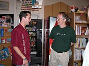 Wil Wheaton (left) meets Tim O'Reilly at the 2003 booksigning of Dancing Barefoot at Powell's in Portland, Oregon.