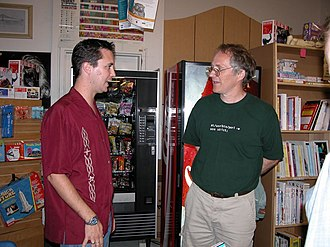 Wil Wheaton - Wil Wheaton (left) meets Tim O'Reilly at the 2003 booksigning of Dancing Barefoot at Powell's in Portland, Oregon.