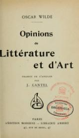 Wilde - Opinions de littérature et d'art, trad. Cantel.djvu