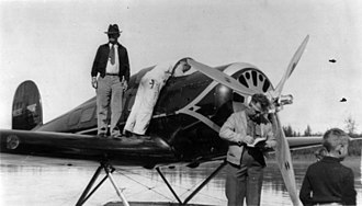 Will Rogers - Rogers standing on the wing of a seaplane belonging to famed aviation pioneer Wiley Post, hours before their fatal crash on 15 August 1935