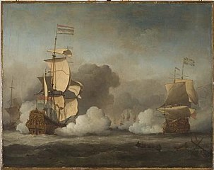 The Dutch Ship Gouden Leeuw Engaged with an English Flagship in a Fleet Action