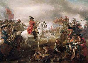 Frederick Schomberg, 1st Duke of Schomberg - Benjamin West's Battle of the Boyne (1778) portrays the death of Schomberg in the bottom right-hand corner.