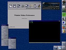 Capture d'écran d'un bureau utilisant l'environnement graphique Window Maker