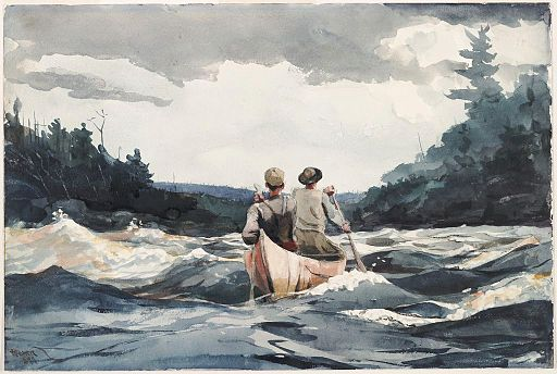 Winslow Homer - Canoe in Rapids (1897)