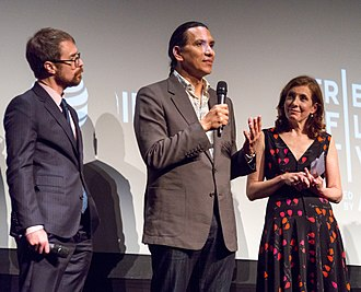 Woman Walks Ahead - Sam Rockwell, Michael Greyeyes, and Susanna White after the 2018 Tribeca Film Festival screening