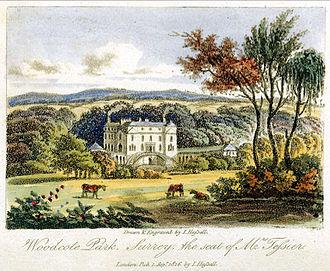 Frederick Calvert, 6th Baron Baltimore - Calvert's family seat at Woodcote Park, Surrey, in an engraving by John Hassell circa 1816
