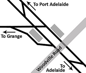 Woodville railway station, Adelaide - Track layout at Woodville station in 2005