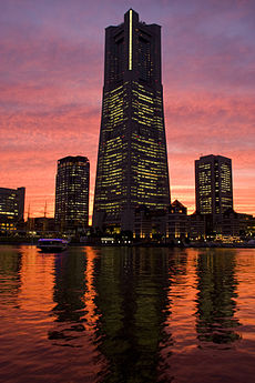 Yokohama Landmark Tower in the evening twilight.jpg