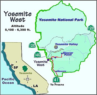 Yosemite West, California - local map