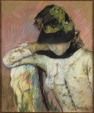 Wove paper - Mary Cassatt, Young Woman in a Black and Green Bonnet, 1890, pastel on tan wove paper, Princeton University Art Museum