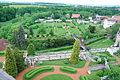 Zámek Nové Město nad Metují, pohled z věže do parku.JPG