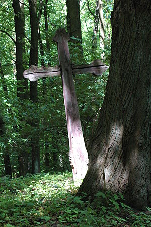 Wooden cross on the top of Zámčisko