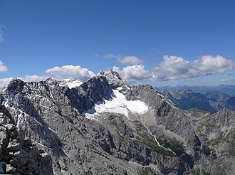 Zugspitze - View from the Alpspitze of the Zugspitze summit and the Höllentalferner glacier in 2007