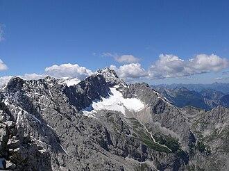 Zugspitze - View from the Alpspitze of the Zugspitze summit and the Höllentalferner glacier in 2007