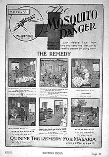 "Advertisement entitled ""The Mosquito Danger"". Includes 6 panel cartoon:#1 breadwinner has malaria, family starving; #2 wife selling ornaments; #3 doctor administers quinine; #4 patient recovers; #5 doctor indicating that quinine can be obtained from post office if needed again; #6 man who refused quinine, dead on stretcher."