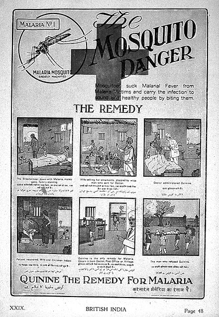 "An advertisement for quinine as a malaria treatment from 1927. ""British India"", six stages of malaria. Wellcome L0022443.jpg"