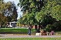 'Kugelbrunnen' am Zürichhorn, im Hintergrund die Blatterwiese mit dem 'Centre Le Corbusier' und dem 'Chinagarten' 2012-10-05 16-42-26.JPG