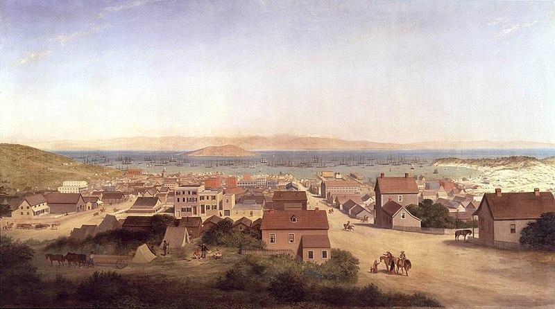 Así se veía la ciudad de San Francisco en 1850, tal como aparece en un cuadro de George Henry Burgess.