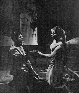 Ondine (play) - Jan Żardecki and Joanna Jedlewska in Ondine, Warsaw, 1965
