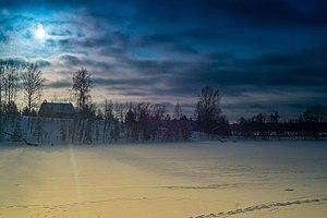 """Academicheskaya Dacha - Image: Зима. Озеро Мстино. Вид на Желниху с """"Дачи художников"""""""