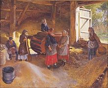 Delightful Russian Women Using A Hand Powered Winnowing Machine In A Barn. Note The  Board Across The Doorway To Prevent Grain From Spilling Out Of The Barn, ...