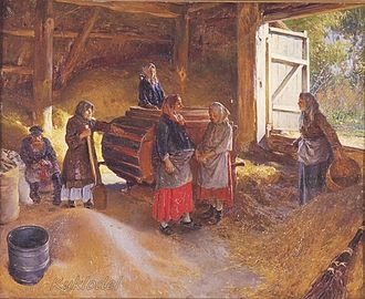 Barn - Russian women using a hand powered winnowing machine in a threshing barn. Note the board across the doorway to prevent grain from spilling out of the barn, this is the origin of the term threshold. Painting from 1894 by Klavdy Lebedev titled the floor or the threshing floor (Гумно).