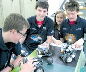 Bellarine Secondary College - Students fiddling with their robots.