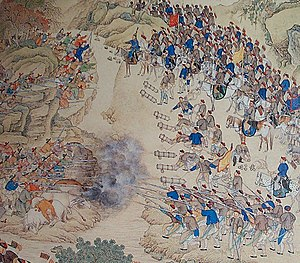 Military of the Qing dynasty - This is a battle with the Qing troops with the Uyghur Khojas near Lake Eshilkul in 1759.