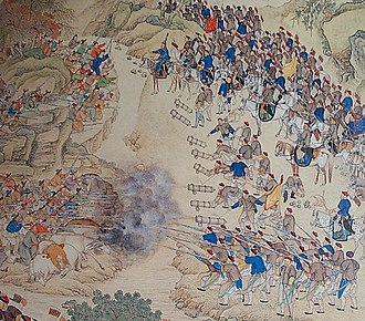 Revolt of the Altishahr Khojas - Qing soldiers and Khoja rebels fighting at Yashilkul Lake, 1759