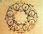 Disegno di Leonardo da Vinci (1452-1519). Studio cuscinetto a sfere.