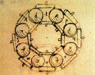 Bearing (mechanical) - Drawing of Leonardo da Vinci (1452-1519) Study of a ball bearing