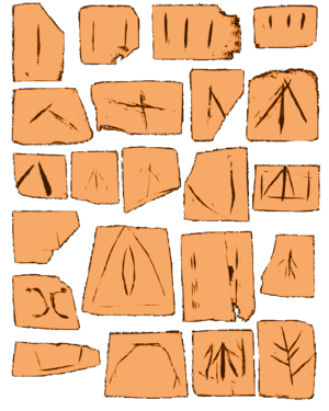 Erlitou culture - Early symbols appearing on ceramics; from the site of Yanshi near Erlitou site