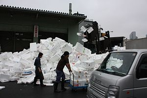 Styrofoam - Polystyrene waste at a Japanese fish market