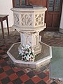 -2020-02-07 Stone baptismal font, Saint Nicholas Church, Trunch Road, Swafield.JPG