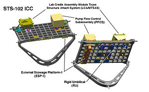 External stowage platform - STS-102 ICC carrying ESP-1 on its underside