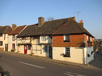 Steyning - Medieval cottages on the corner of Church Street and High Street