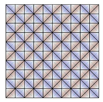 600-cell - 100 tetrahedra in a 10x10 array forming a clifford torus boundary in the 600 cell.