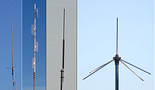 Montage of four professional US omnidirectional base-station antennas