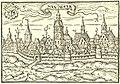 1584 1585 Heinrich Bünting, Hannover von Westen mit äußerem und inneren Leintor, Holzschnitt aus der Chronik Braunschweigische und Lüneburgische Chronica, II.jpg