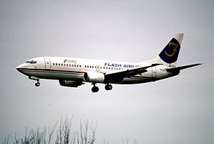 Flash Airlines Flight 604 - SU-ZCF, the aircraft involved, at Zurich Airport in March 2002