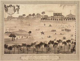 Hancock Manor - View of Hancock's house from across the Common, 1768