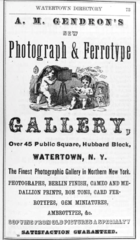 1872 A M Gendron Photograph and Ferrotype Gallery advert Waterton NY.png